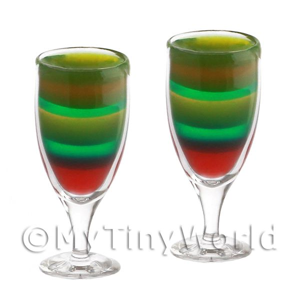 2 Miniature Rainbow Cocktails In Handmade Glasses