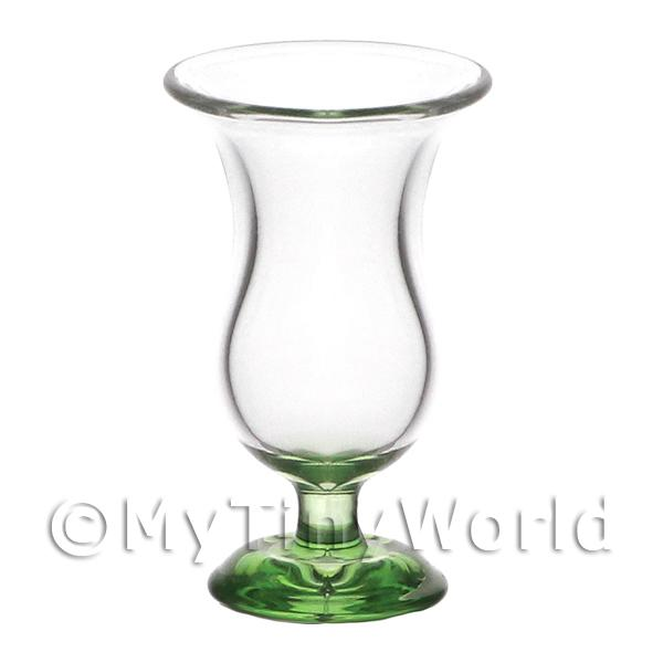 Dolls House Miniature Handmade Tall Curved Glass With Green Base