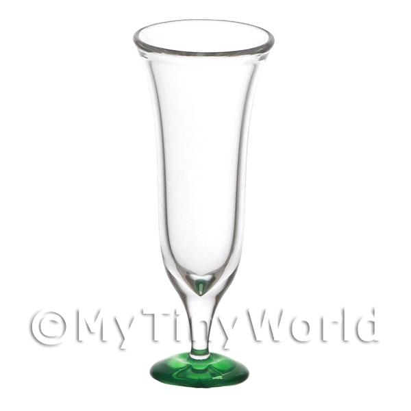 Dolls House Miniature Tall Curved Bell Shaped Top Glass With Green Base