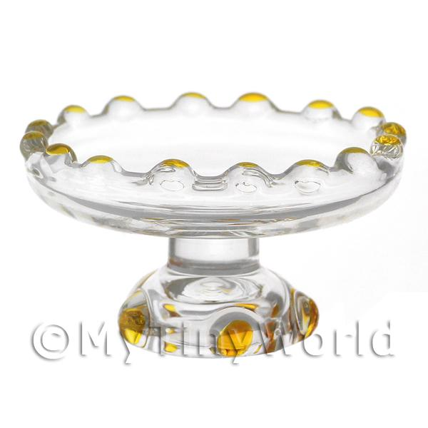 Dolls House Miniature Yellow Glass Single Tier Cake Stand