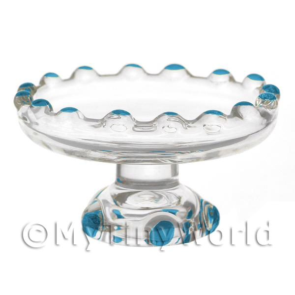 Dolls House Miniature Cyan Glass Single Tier Cake Stand