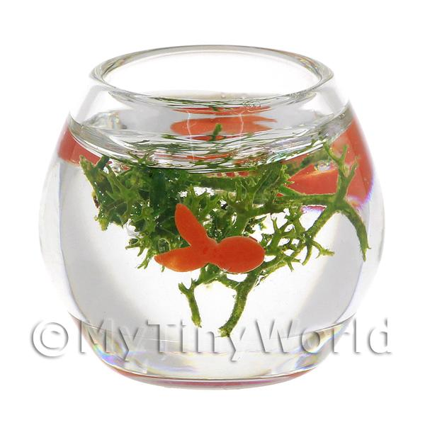 Dolls House Miniature Glass Gold Fish Bowl