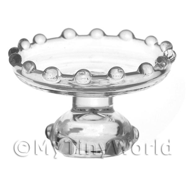 Dolls House Miniature Clear Glass Single Tier Cake Stand