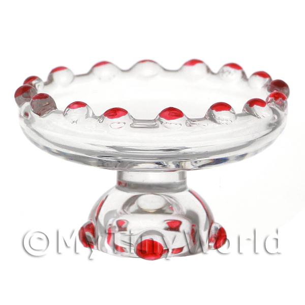 Dolls House Miniature Red Glass Single Tier Cake Stand