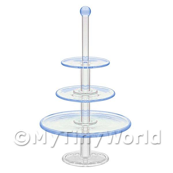 Dolls House Miniature  | Dolls House Miniature Handmade  Tier Blue Glass Cake Stand