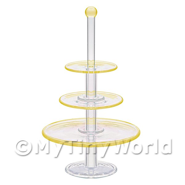 Dolls House Miniature  | Dolls House Miniature Handmade 3 Tier Yellow Glass Cake Stand