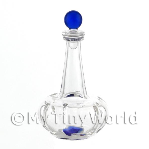 Dolls House Miniature Handmade Blue Based Clasp Style Glass Decanter