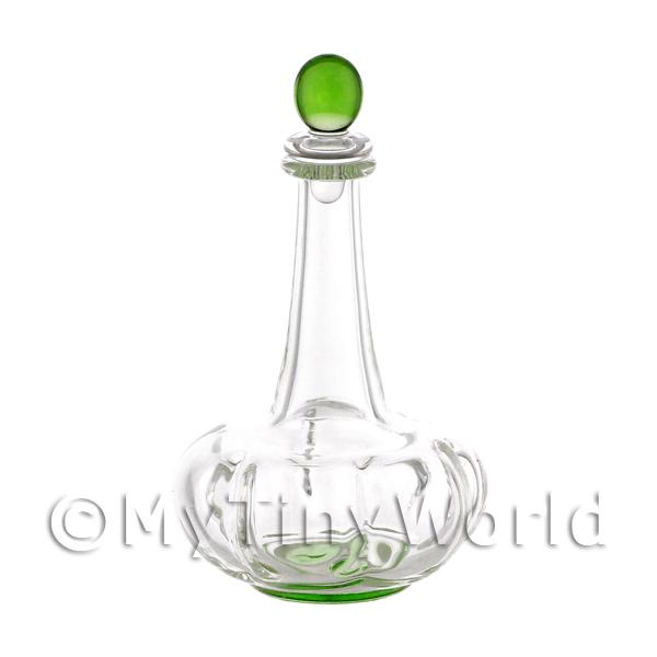 Dolls House Miniature Handmade Green Based Clasp Style Glass Decanter