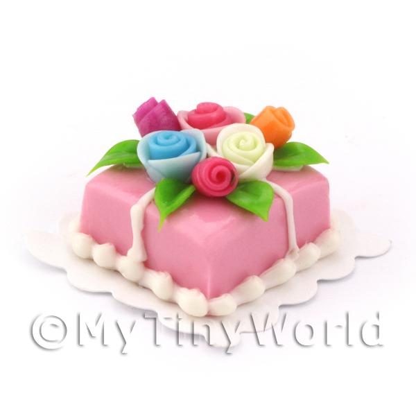 Dolls House Miniature Small Square Pink Cake With Roses