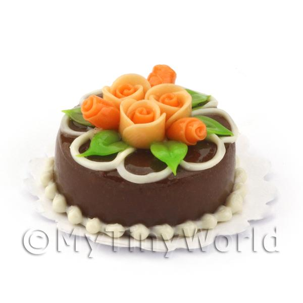 Dolls House Miniature Small Round Chocolate Cake With Roses