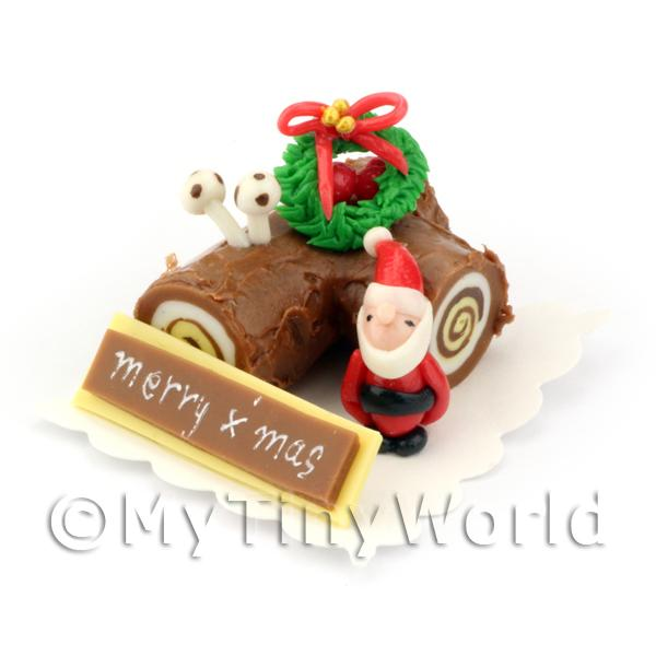 Dolls House Miniature  | Dolls House Miniature Chocolate Yule Log Cake