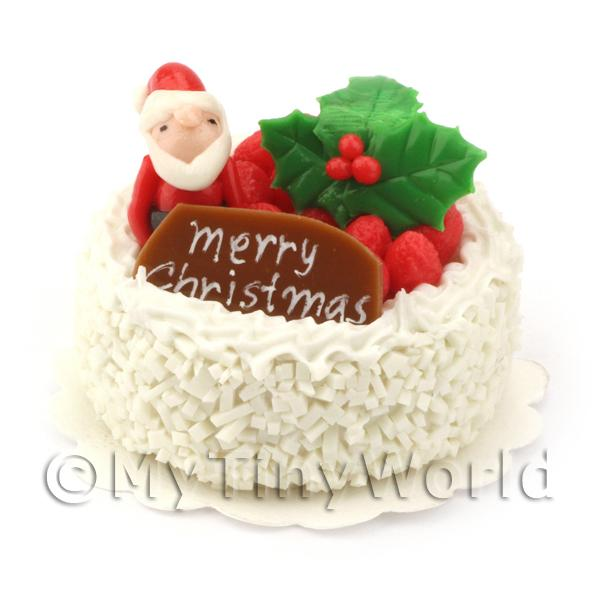 Dolls House Miniature  | Dolls House Miniature Snowy Father Christmas Cake