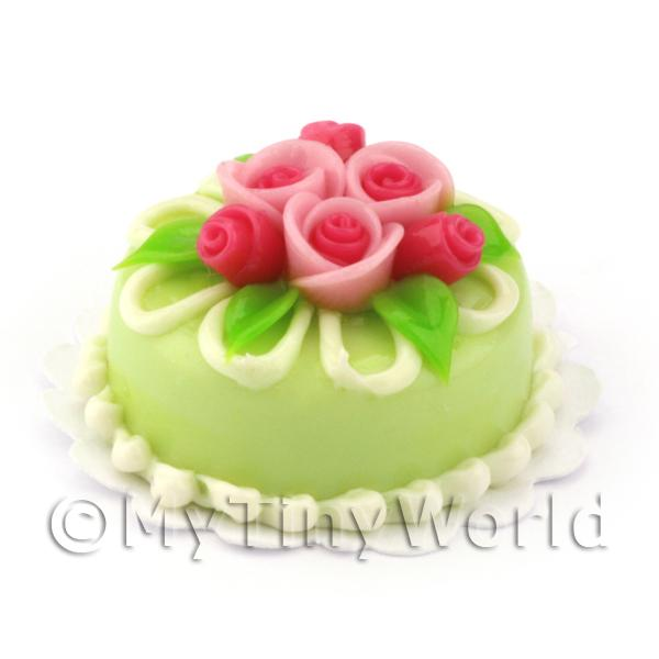 Dolls House Miniature Small Round Green Iced Cake With Roses