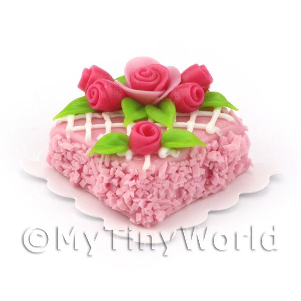 Miniature Small Square Pink Lattice Cake With Roses