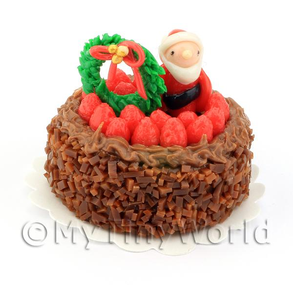 Dolls House Miniature  | Dolls House Miniature Chocolate Christmas Cake
