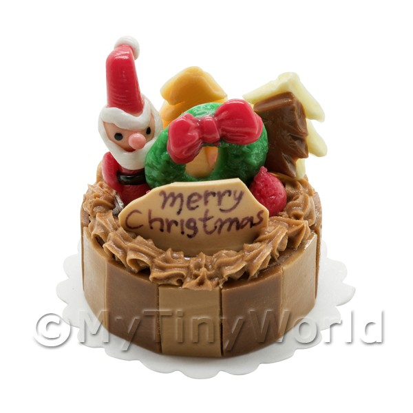 Dolls House Miniature  | Dolls House Miniature Chocolate Christmas Cake With Holly