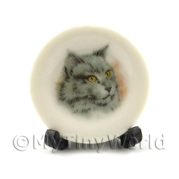 Dolls House Miniature Cat Plate Style1 and Removable Plate Stand
