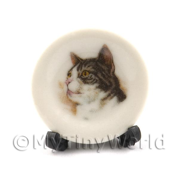 Dolls House Miniature Cat Plate Style 2 and Removable Plate Stand