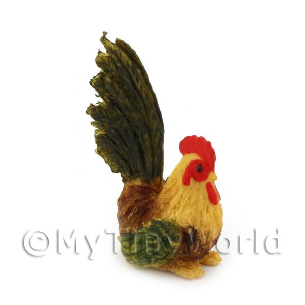 Dolls House Miniature Green And Brown Cockerel