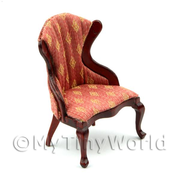 Dolls House Miniature  | Dolls House Miniature Georgian Style Red and White Diamond Chair