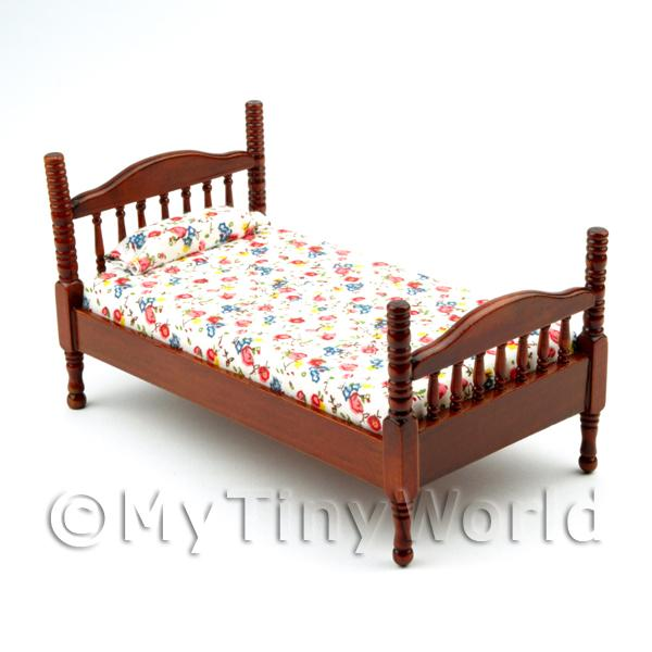 Dolls House Miniature  | Dolls House Miniature Adult Floral Mahogany Bed