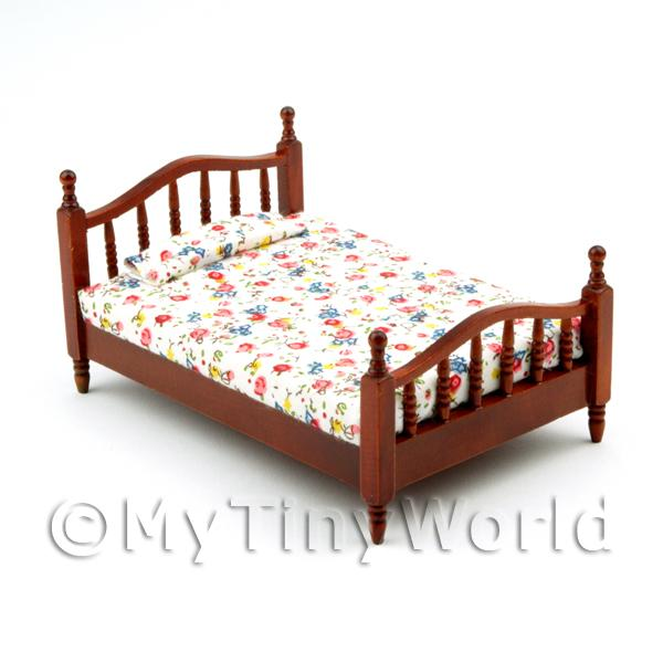Dolls House Miniature Mahogany Coloured Wooden Bed