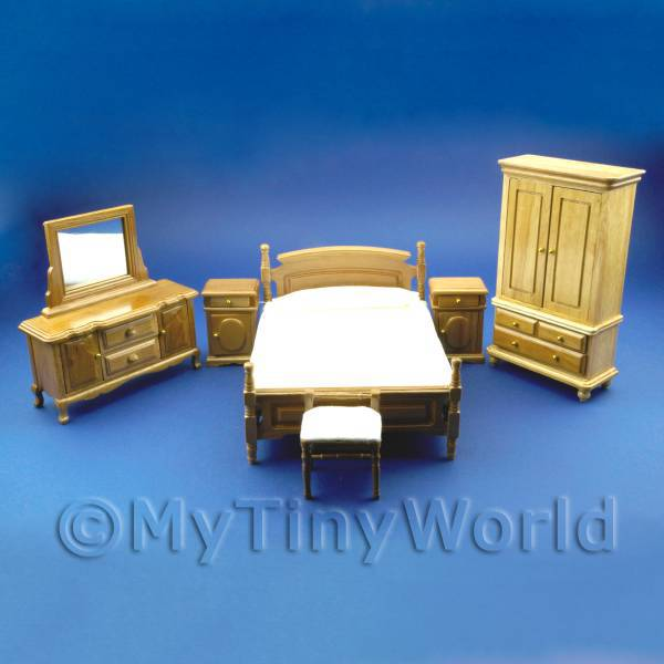 6 Piece Dolls House Miniature Complete Oak Bedroom Set