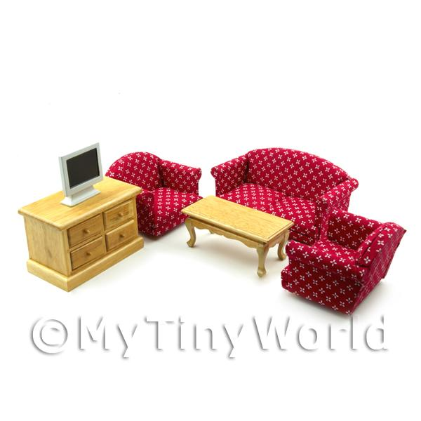 6 Piece Dolls House Miniature Red Living Room Set