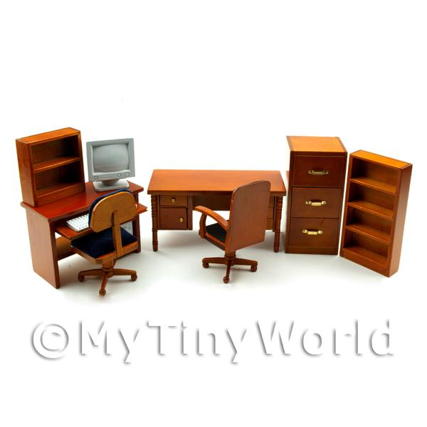 Dolls House Miniature Mahogany Office Set With Computer