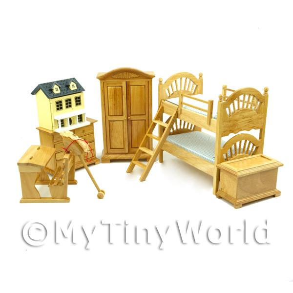 7 Piece Dolls House Miniature Solid Wood Childrens Bedroom Set