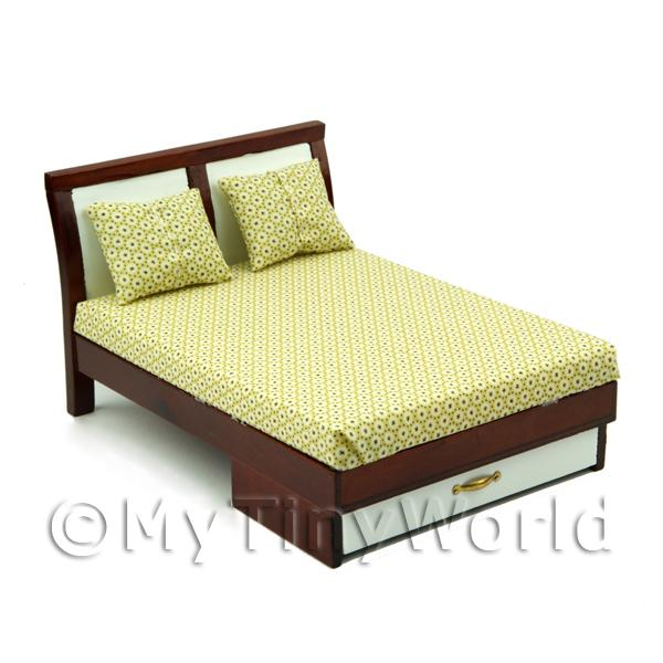 Dolls House Miniature Modern Retro Style Solid Wood Double Bed