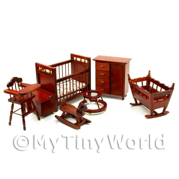 Dolls House Miniature Solid Wood 7 Piece Nursery Set