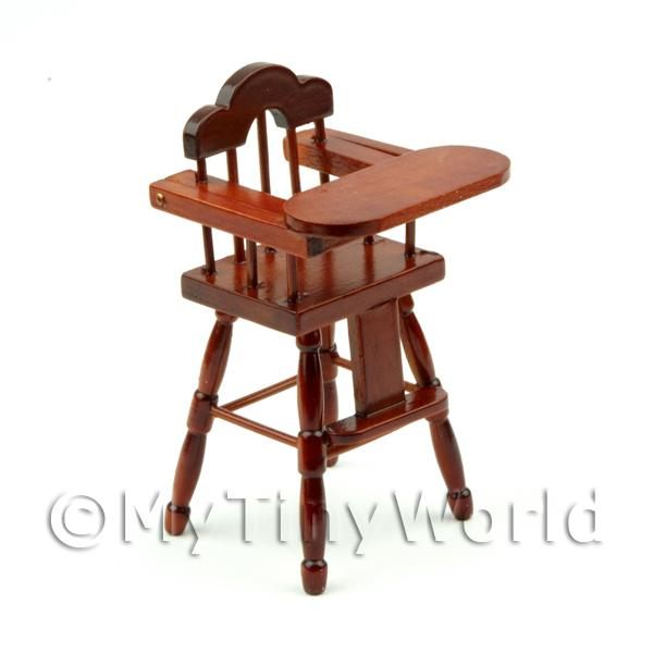 Dolls House Miniature Childrens Mahogany High Chair
