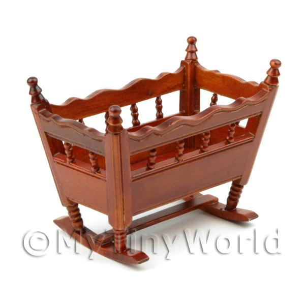 Dolls House Miniature  | Dolls House Miniature Solid Wood Mahogany Colour Crib