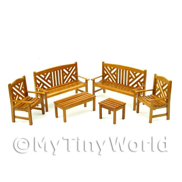 Dolls House Miniature  | 6 Piece Dolls House Miniature Elegant Garden Bench Set
