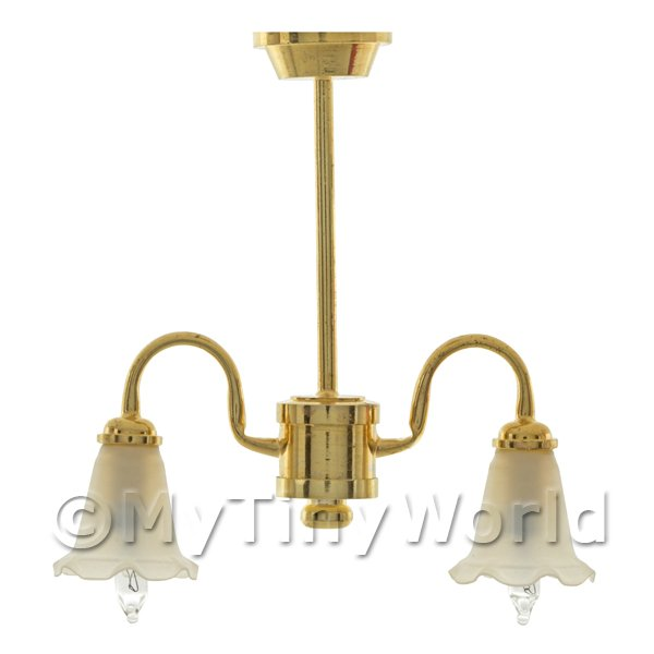 Dolls House Miniature 2 Arm Chandelier