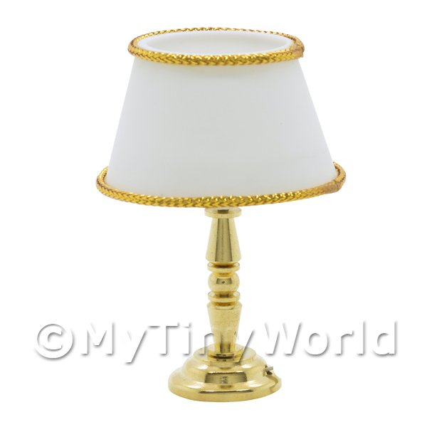 Dolls House Miniature Table Lamp with White Shade