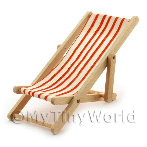 Dolls House Miniature  | Dolls House Miniature Garden Deck Chair - Orange  and white