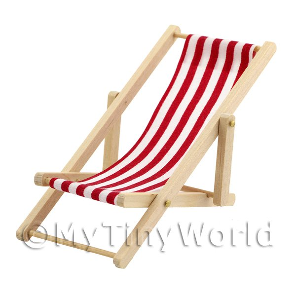 Dolls House Miniature  | Dolls House Miniature Red and White Garden Deck Chair