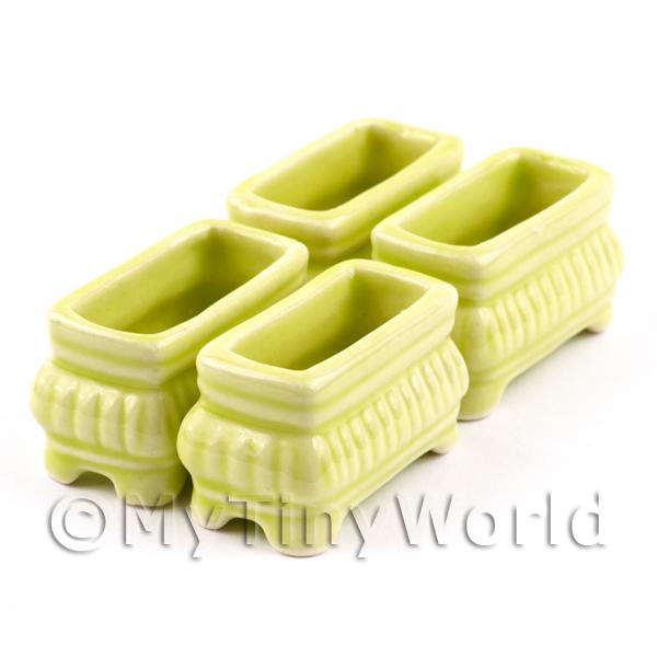 4 Dolls House Miniature Lime Yellow Miniature Ceramic Flower Boxes / Planter