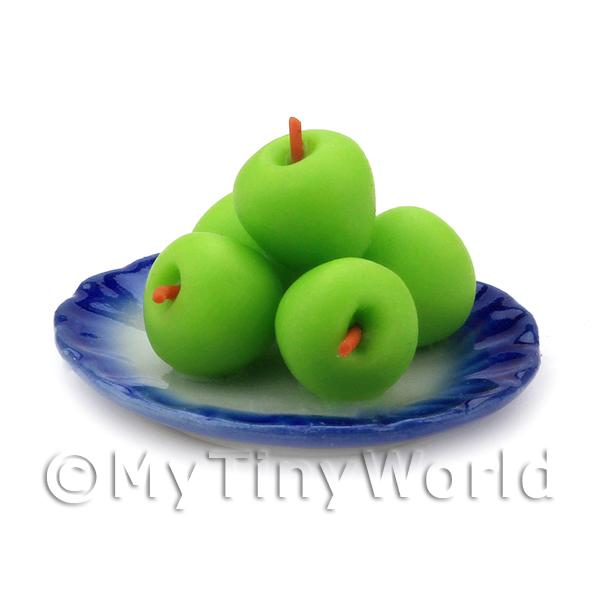 5 Dolls House Miniature Granny Smith Apples on a plate
