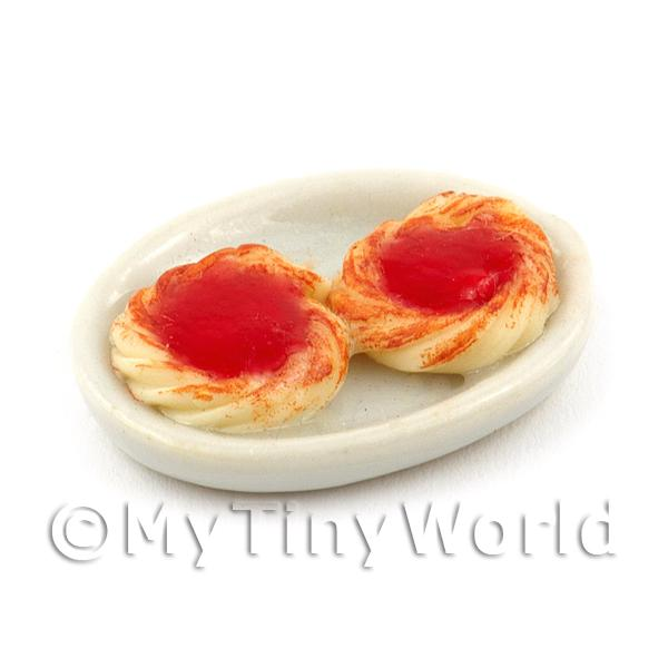 1/12 Scale Dolls House Miniatures  | Dolls House Miniature Strawberry Jam filled Puff Pastries on a Plate
