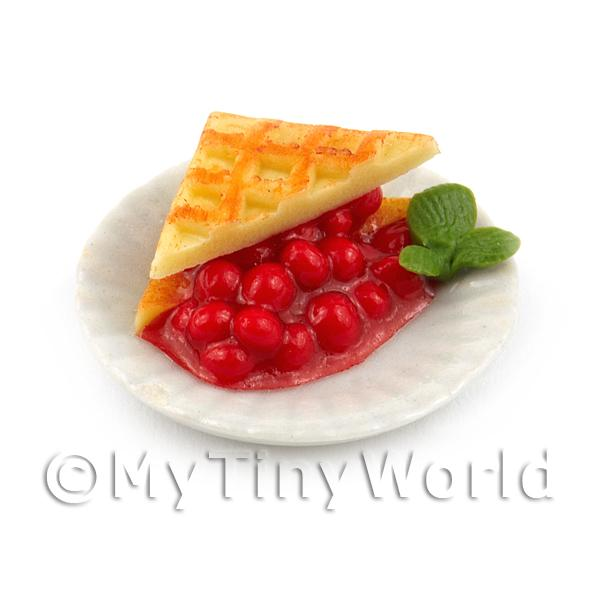1/12 Scale Dolls House Miniatures  | Dolls House Miniature Waffles indulgently packed with a juicy Cherry filling