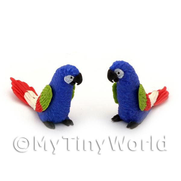 Dolls House Miniature  | 2 Blue Dolls House Miniature Parrots with Multi-Colured Wings and Red Tail
