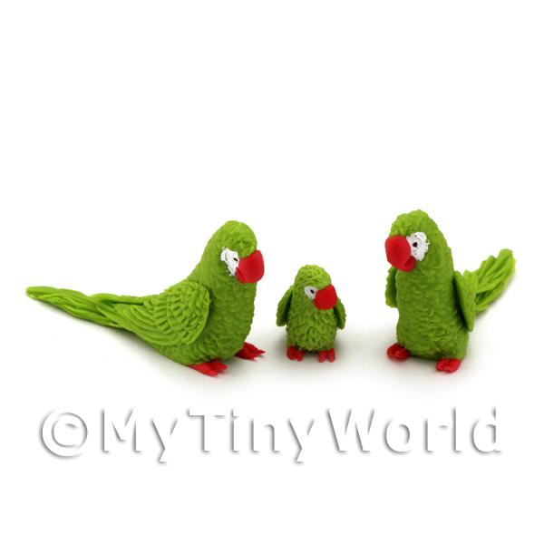 Dolls House Miniature  | 3 Dolls House Miniature Handmade Air Dried Clay Green Parrots