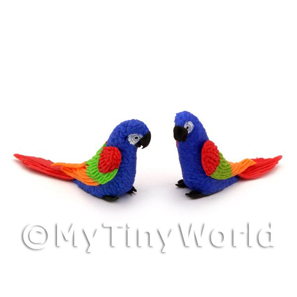 Dolls House Miniature  | 2 Blue Dolls House Miniature Parrots With Multi-Colured Wings And Red Tails