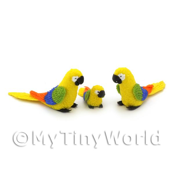 Dolls House Miniature  | 3 Yellow Dolls House Miniature Parrots with Multi-Coloured Wings