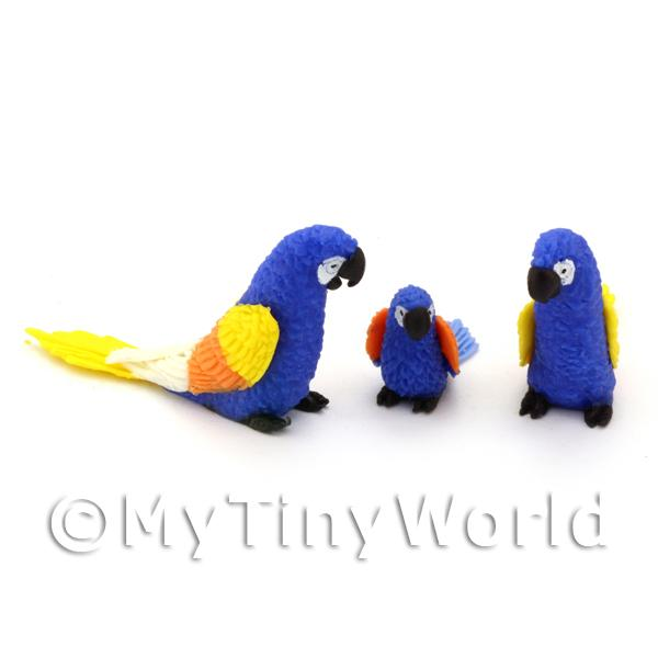 Dolls House Miniature  | 3 Blue Dolls House Miniature Parrots with Multi-Coloured Wings