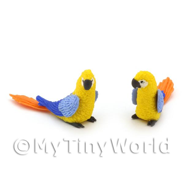 Dolls House Miniature  | 2 Yellow Dolls House Miniature Parrots With Blue Wings and Orange Tail