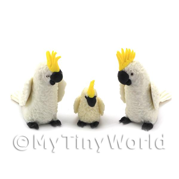 Pair of White Dolls House Miniature Cockatoos with Baby